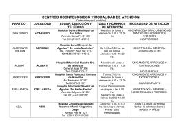 CENTROS ODONTOLÓGICOS Y MODALIDAD DE ATENCIÓN