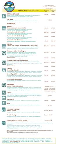 Listado de tarifas Junio 2014
