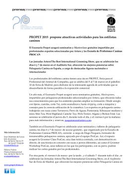PROPET 2015 propone atractivas actividades para los