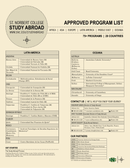 APPROVED PROGRAM LIST STUDY ABROAD