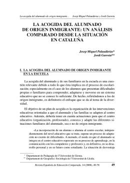 LA ACOGIDA DEL ALUMNADO DE ORIGEN INMIGRANTE: UN