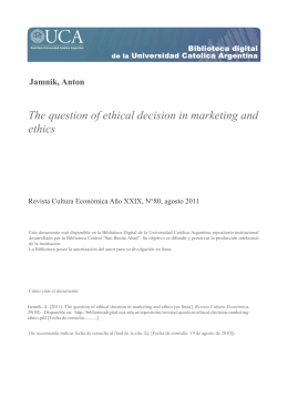 The question of ethical decision in marketing and ethics