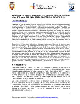 Variación Espacial y Temporal del Calamar Gigante en la Costa