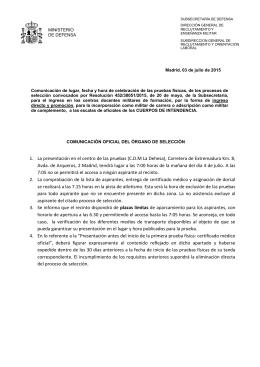 1. La presentación en el centro de las pruebas (C.D.M La Dehesa
