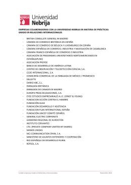 Listado de empresas e instituciones donde los alumnos del grado