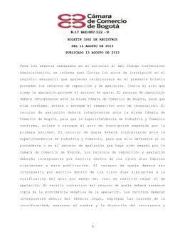 BOLETIN 3262 DE REGISTROS DEL 12 AGOSTO DE 2013