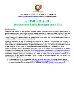 Comunicado Emilia Romagna - Federación de las Asociaciones