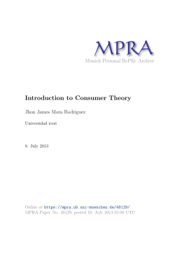 Introduction to Consumer Theory