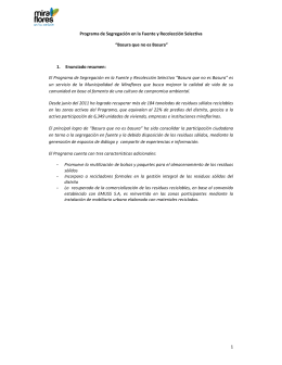Basura que no es Basura - Municipalidad de Miraflores