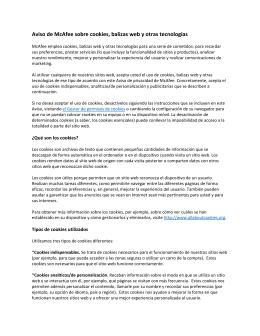 Aviso de McAfee sobre cookies, balizas web y otras tecnologías