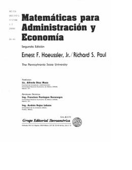 Matemáticas para Administración , Economía