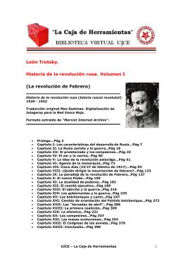 León Trotsky. Historia de la revolución rusa. Volumen I (La