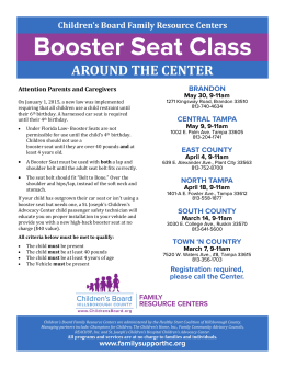 Booster Seat Class - Florida`s Center for Child Welfare