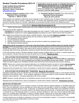 Student Transfer Procedures 2013-14