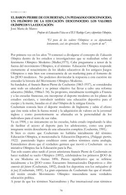 EL BARON PIERRE DE COUBERTAIN, UN PEDAGOGO