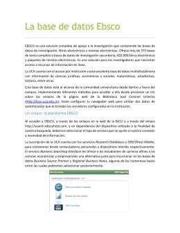 La base de datos Ebsco - Biblioteca José Coronel Urtecho