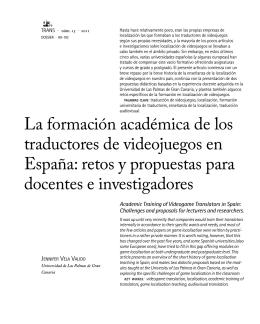 La formación académica de los traductores de videojuegos en España