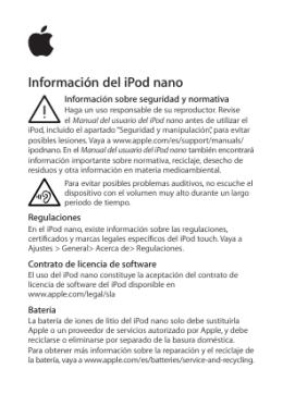 Información del iPod nano