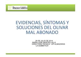 evidencias,síntomas y soluciones del olivar mal abonado