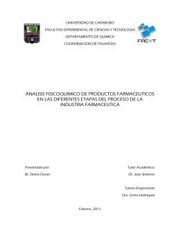 analisis fisicoquimico de productos farmaceuticos en las