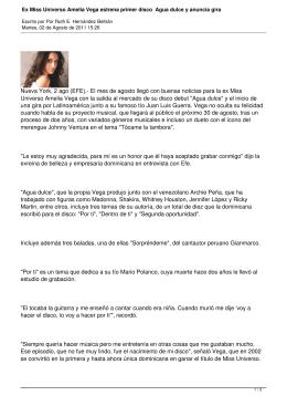 Ex Miss Universo Amelia Vega estrena primer disco Agua dulce y