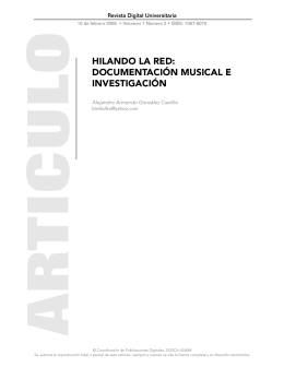 HILANDO LA RED: DOCUMENTACIÓN MUSICAL E INVESTIGACIÓN
