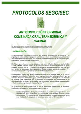 Anticoncepción Hormonal Combinada Oral, Transdérmica y Vaginal
