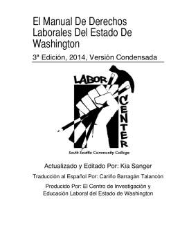 El Manual De Derechos Laborales Del Estado De Washington