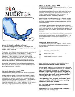 Jueves 30 Llegada a la Ciudad de México El vuelo llega temprano