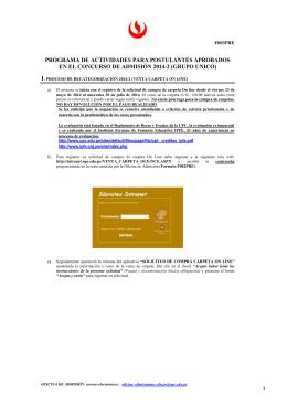 Programa de actividades para el postulante Aprobado