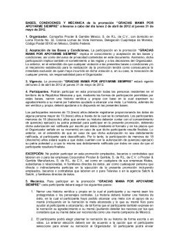 """BASES, CONDICIONES Y MECÁNICA de la promoción """"GRACIAS"""