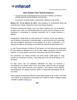 Abre Interjet vuelo Tijuana