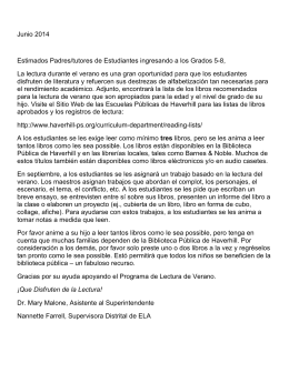 Junio 2014 Estimados Padres/tutores de Estudiantes ingresando a