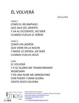ÉL VOLVERÁ - Alabanza Mies Tultepec