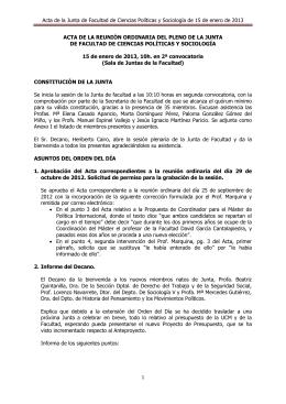 Acta de la reunión ordinaria de la Junta de Facultad de 15 de enero