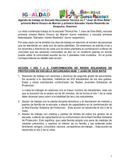 "Agenda de trabajo en Escuela Secundaria Técnica no.1 ""Juan de"