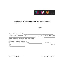 SOLICITUD DE CESIÓN DE LINEAS TELEFÓNICAS