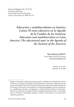 Educación y multilateralismo en América Latina: El tema
