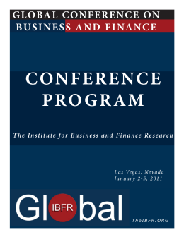 Programa - The Institute for Business and Finance Research (IBFR)