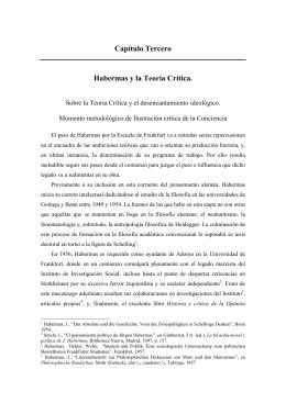Capítulo Tercero Habermas y la Teoría Crítica.