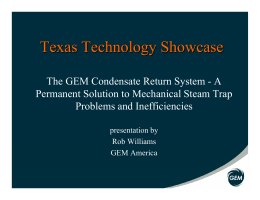 GEM Condensate Return System—A