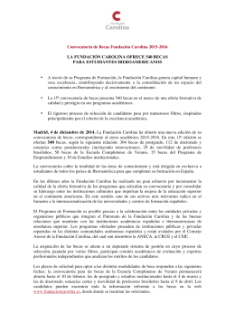Convocatoria de Becas Fundación Carolina 2015