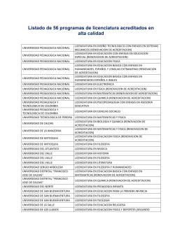 Listado de 56 programas de licenciatura acreditados en alta calidad