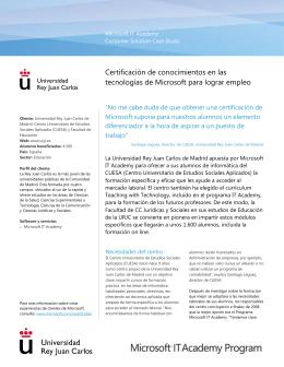 Case Study de Microsoft de la Universidad Rey Juan Carlos de Madrid