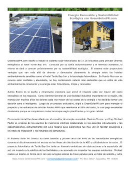 Turtle Bay Inn Photovoltaic Project spanish