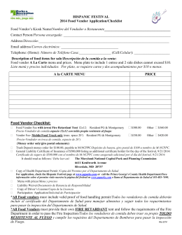 HISPANIC FESTIVAL 2014 Food Vendor Application/Checklist Food