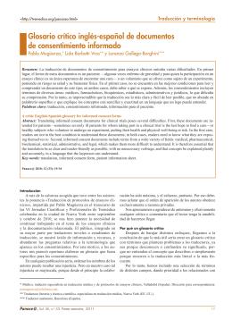 Glosario crítico inglés-español de documentos de
