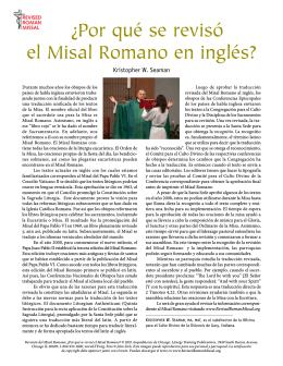 ¿Por qué se revisó el Misal Romano en inglés?