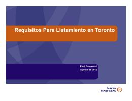 Requisitos Para Listamiento en Toronto