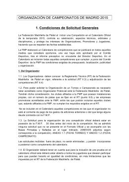 Condiciones de solicitud - Federación Madrileña de Pádel